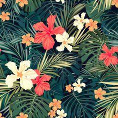 패턴: 열대 식물과 히비스커스 꽃, 벡터 일러스트 레이 션 여름 다채로운 하와이 원활한 패턴