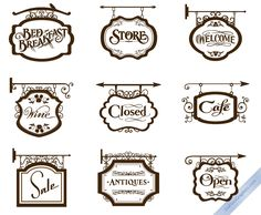 Vector Vintage Store Signs set I by DaPinoGraphics