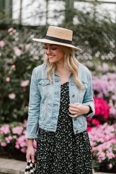 16816103a1 Janessa Leone Boater Hat + Old Navy Floral Printed Dress   bows & sequins  Denim