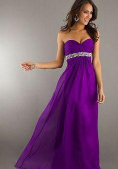 Sweetheart A line Chiffon Empire Floor Length With Beading Evening Dress - Angeldress.co.uk