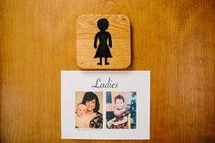 DIY bathroom sign: baby photos of the bride!