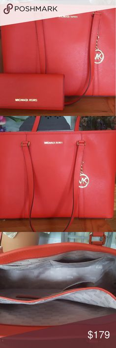 """Michael Kors Saffiano Large Leather Tote & Wallet This is the most beautiful bag & wallet ever, it's gorgeous beyond words.The color pops. Size: largeMeasurement: H 11 1/2"""" L 16"""" W 5 1/2"""" Handle drop: double handles 10.5"""" 100% Leather.Zip top closure. Gold tone hardwareDouble top handles with approx. 10.5"""" drop Interior large lightly padded pouch for ipad, tablet, Removable MK logo Charm Fully lined with matching MK sateen fabric Exterior has 1 slot and 4 inside.…"""