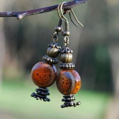 """Boucles d'oreille créateur - boucles d'oreille baroque """"lanterne"""" en céramique et bronze - création artisanale unique"""