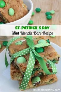 St. Patrick's Day Mint Blondie Bars Recipes