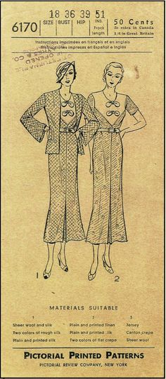 1930s Ladies Dress with Jacket Sewing Pattern - Pictorial Review Pattern #6170