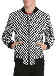 Royal Bones Black And White Checkered Bomber Jacket | Hot Topic