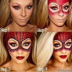 Spider Girl Tutorial. 10 gorgeous halloween makeup looks! Cheetah makeup, spider girl makeup, deer makeup, doe makeup, fawn makeup, fairy makeup, pop art makeup, fairy makeup, unicorn makeup, mermaid makeup, sugar skull makeup. Love this site with all of the gorgeous inspiration.