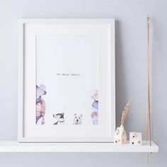 Custom Family name illustration - Family art - Personalised family portrait - Family Name Art, Cute Family, Family Illustration, Portrait Illustration, Little White, Family Portraits, Illustrators, How To Draw Hands, Great Gifts