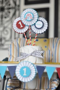 First Birthday Party Table Flair, Circus Birthday, Birthday Table Decoration by LeroyLime on Etsy