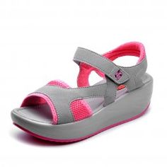 Cheap Price of 2017 summer sandals female fish mouth bottom thick platform wedges flat shoes students shake open toe women shoes Price Descr. Women's Shoes, Red Shoes, Shoes 2017, Flat Shoes, Wedge Sneakers, Wedge Sandals, Summer Sandals, Summer Shoes, Pink Leather