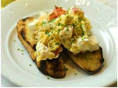 Soft scrambled eggs with lobster, truffle, and cream cheese from Bar La Grassa. Minneapolis MN