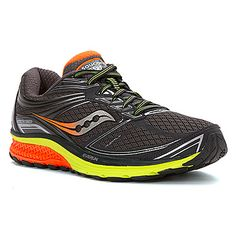 New! Men's Saucony Guide 9 light stability shoe shown in Midnight/Citron/Orange