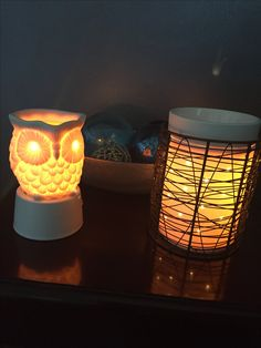 Whoot nightlight on our new nightlight base! Core warmer with Loom wrap