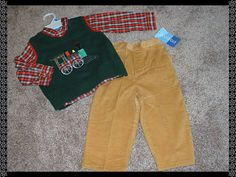 Good Lad Baby Boys Size 24 mos 24M NWT Holiday Train 3pc Outfit Set Clothes NEW #GoodLad #DressyEverydayHoliday