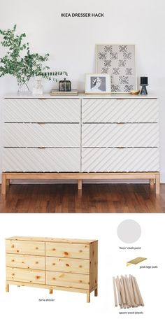 Transform a Humble Ikea Dresser Into a Gorgeous Bedroom Piece. Amazing upscale I… Transform a Humble Ikea Dresser Into a Gorgeous Bedroom Piece. Amazing upscale IKEA hack that's modern and fresh! Ikea Chest Of Drawers, Ikea Tarva Dresser, Ikea Dresser Makeover, Ikea Furniture Makeover, Ikea Furniture Hacks, Ikea Nightstand, Dresser Ideas, Furniture Ideas, Ikea Bedroom Furniture