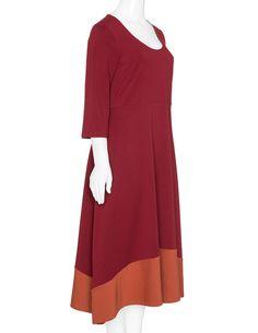 Isolde Roth Cotton blend colour block dress in Bordeaux-Red / Orange