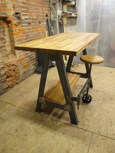 French Industrial Stand Up Sit Down Work Station Desk on Etsy, $1,750.00