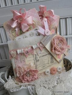 shabby chic sewing CREATE handCRAFTED FOR YOU card set and sewing tag embellished bakers sleeve pocket gift decoration