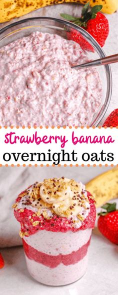 This strawberry banana overnight oats recipe is the best for a quick and easy healthy breakfast! Made with quick cooking oats, chia seeds, greek yogurt, and almond milk, these overnight oats pack a protein punch to keep you full until your next meal! #overnightoats #strawberrybanana #breakfast #recipe #food Overnight Oats With Yogurt, Strawberry Overnight Oats, Overnight Oatmeal, Strawberry Banana, Strawberry Recipes, Strawberry Breakfast, Chia Seed Overnight Oats, Quick Oat Recipes, Oatmeal Recipes