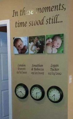 Time Stood Still clocks with wedding and birth times http://kathleenh.uppercaseliving.net