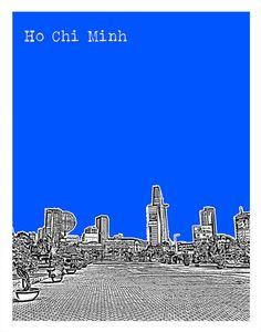 Ho Chi Minh Vietnam Poster Art Print Skyline by AnInspiredImage