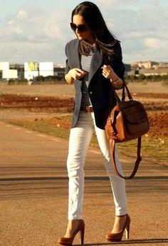 navy blazer + white pant + brown accessories <3
