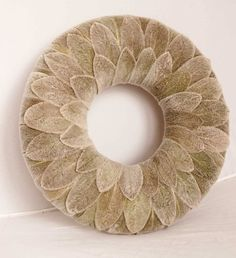 Winter Christmas wreath/Candle Ring/ Centerpiece, Christmas decoration, grey, gray, Lamb's ear (I thuink I would try something lijke this but with felt and more colors)