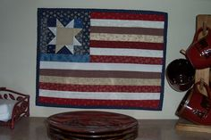 Quilted American Flag Wall Hanging by OurLodgeInTheWoods on Etsy