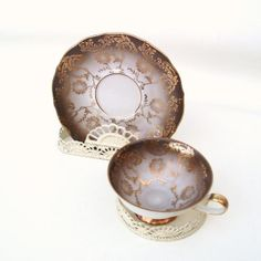 Demitasse Cup Saucer Bavaria China Metallic Gold by WhimzyThyme, $32.95