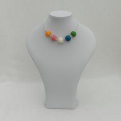 Funky, modern felt and bead necklace, rainbow £8.50