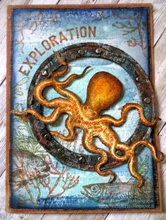 Tim Holtz Dies, Tim Holtz Stamps, Octopus Card, Cruise Scrapbook, Nautical Cards, Animal Cards, Artist Trading Cards, Kraken, Tag Art