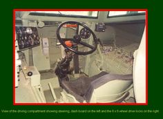 SADF.info RATEL 20 & 90 INTERIORS - View of the driving compartment showing steering, dash board on the left and the 6x6 wheel drive locks on the right Brothers In Arms, Defence Force, Army Vehicles, Military Photos, Insurgent, Dashboards, Armed Forces, Scale Models, African