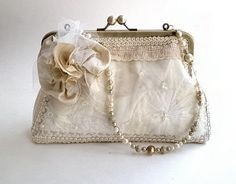 Bridal, Special Occasion purse, ivory, cream, Shabby Chic, silk flowers, gold kisslock frame