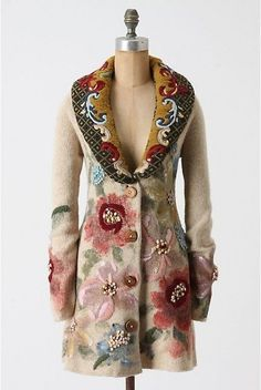 S NWT hand painted poppies sweater coat anthropologie sleeping on snow the best #Anthropologie #Sweatercoat