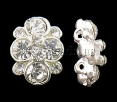 Zinc Alloy Connector, Flower, silver color plated, with rhinestone & 2-strand, nickel, lead & cadmium free***0,176