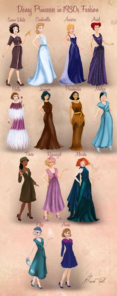 Disney Princesses in 1930s Fashion by Basak Tinli by BasakTinli on @DeviantArt