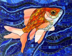Goldfish by Barb Keith Stained glass mosaic x Mosaic Tile Art, Mosaic Crafts, Mosaic Projects, Mosaic Glass, Glass Art, Arte Bar, Mosaic Animals, Mosaic Pieces, Mosaic Garden