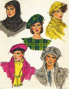 Misses Hat and Hood: All hats are lined and have bands. Double layered, shaped hood has back slit.  Pattern printed by Vogue Pattern Service in 1985,