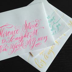 Envelopes can be addressed in many different colors! (I wouldn't recommend yellow if you are sending it through the mail, however.)
