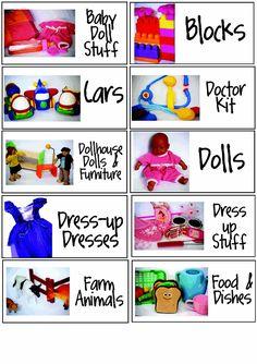 Seeking to Glorify: On Organizing Toys - Toy Bin Labels - Spielzeug Preschool Labels, Classroom Labels, Classroom Organisation, Playroom Organization, Organizing Toys, Preschool Activities, Playroom Ideas, Homeschool Kindergarten, Preschool Education