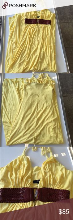 Sky yellow maxi summer dress small medium large Sky yellow  leather belted maxi summer dress size small, medium, and large available....please note these dresses have been tried on and handled in store the bottom gem might be a little dusty this cons easily be washed off ..see last picture not all dressed are like this ... Sky Dresses Maxi