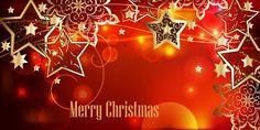 Horizontal festive background with golden stars by Maria Rytova #merry #christmas #background #design #star #decorative #festive #red