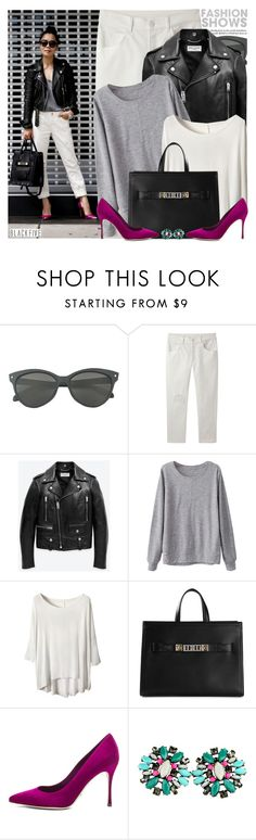 """""""1600. Blogger Style: Hallie Daily"""" by amber-nicki-rose ❤ liked on Polyvore featuring Band of Outsiders, Yves Saint Laurent, Proenza Schouler, Sergio Rossi, vintage and BlackFive"""