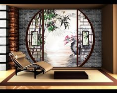 Wall Decor Asian Style Custom Wallpaper Tapestry Digital Measuring Zen Landscape- Chinese Traditional Garden Source by atelierwybo Japanese Home Design, Japanese Tea House, Japanese Home Decor, Japanese Modern, Japanese Style, Chinese Interior, Japanese Interior Design, Interior Chino, Casa Dos Hobbits
