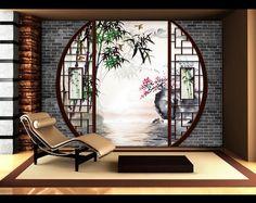 décoration murale style asiatique papier peint personnalisé tapisserie numériquesur mesure paysage zen-Jardin tradionnel chinois