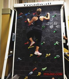 Treadwall = treadmill + indoor rock climbing wall  I LOVE UPPER LIMITS! If you haven't been and your in StL, you HAVE to go!