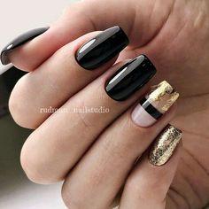 Black Shellac Nails, Black Nails With Glitter, Shellac Manicure, Glitter Nails, My Nails, Acrylic Nails, Gold Glitter, Summer Shellac Nails, Shellac Nail Designs