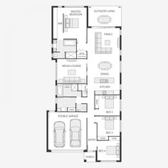 The Avoca Series is a versatile family home that is designed to suit traditional lots from one of Australia's leading home builders. Narrow Lot House Plans, Best House Plans, Dream House Plans, Double Garage, Good House, Story House, Model Homes, First Home, Home Builders