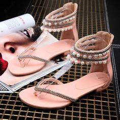 Beading Rhinestone Thong Women's Flat Flops Sandals - MeetYoursFashion - 8