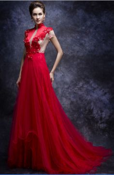 Style CLF139 – red short sleeve evening gowns